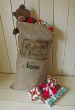 Personalized Compliments Of The Season Large Father Christmas Xmas Santa Sack / Stocking Bag Jute Hessian
